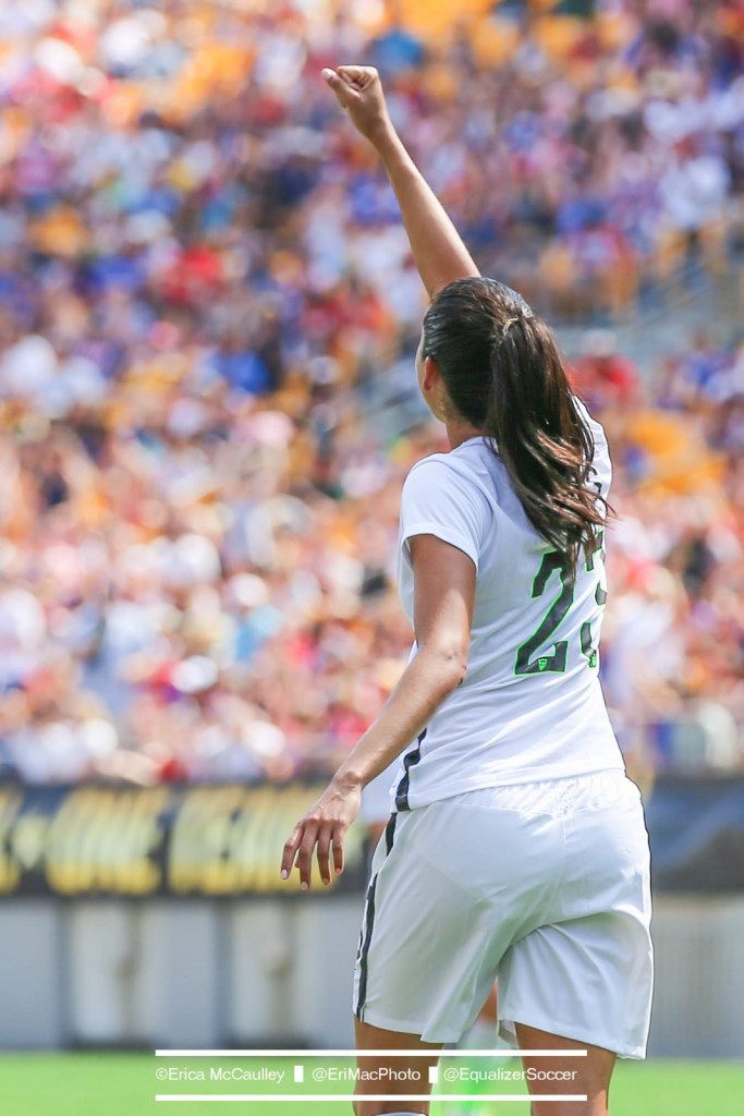 Christen Press scored a hat trick on Thursday against Trinidad and Tobago. (Photo Copyright Erica McCaulley for The Equalizer)