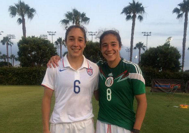 Monica and Sabrina Flores both play for the University of Notre Dame, but they recently lined up for the U.S. and Mexico U-20s, respectively. (Photo: Dawn Siergiej/Notre Dame)