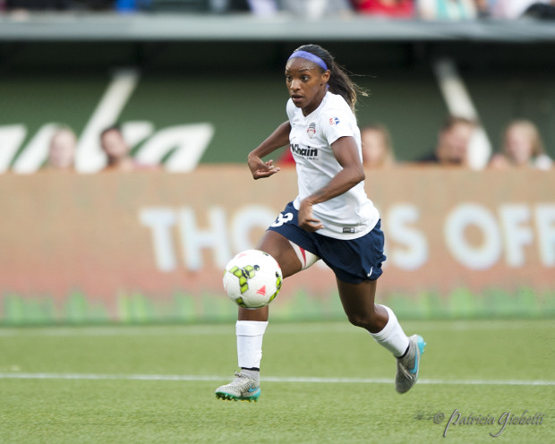 Crystal Dunn scored one for the highlight reels on Thursday, leading the U.S. over England. (Photo Copyright Patricia Giobetti for The Equalizer)