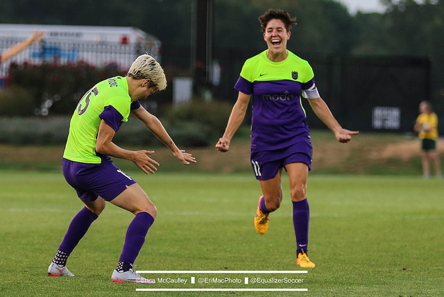 Megan Rapinoe celebrates her game-winning goal against the Spirit. (Photo Copyright Erica McCaulley for The Equalizer)