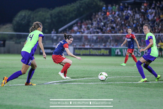 Diana Matheson will be an X-factor for the Spirit against the Reign on Sunday in the NWSL semifinal. (Photo Copyright Erica McCaulley for The Equalizer)