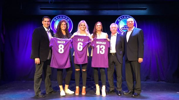 Alex Morgan, Kaylyn Kyle and Sarah Hagen are the first three members of Orlando Pride. (Photo Courtesy Orlando Pride)