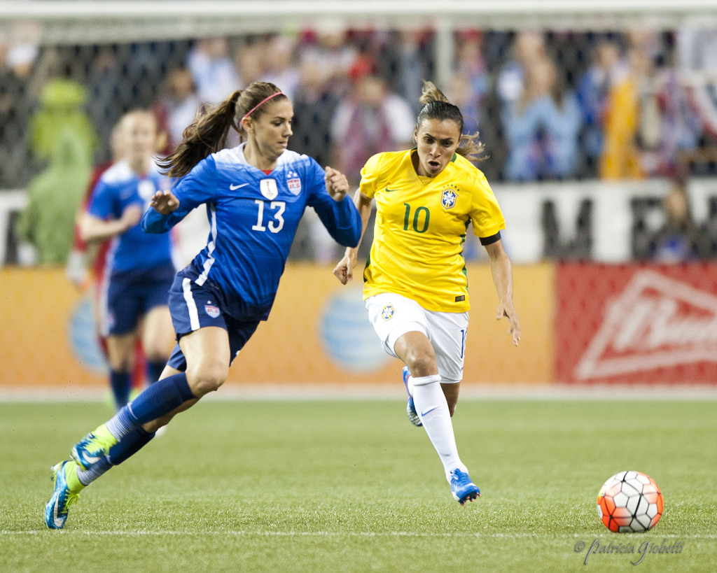 Marta (right) and Brazil have high hopes heading into the 2016 Olympics on home soil. (Photo Copyright Patricia Giobetti for The Equalizer)