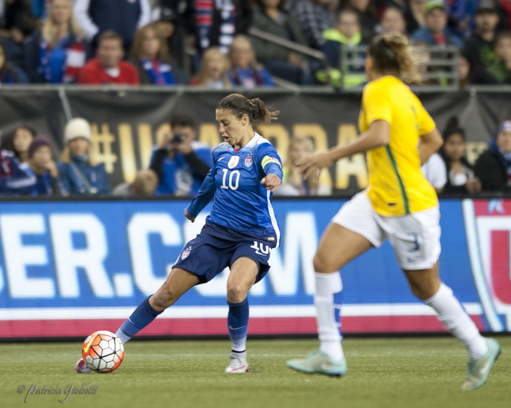 Carli Lloyd scored the game-tying goal for the USWNT against Brazil on Wednesday. (Photo Copyright Patricia Giobetti for The Equalizer)