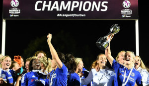 Chelsea Ladies celebrate their first FAWSL title after defeating Sunderland on Sunday. (photo courtesy FAWSL)