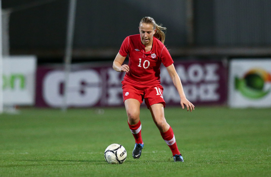 Rebecca Quinn competes at the 2014 Cyprus Cup. (Photo Courtesy Canada Soccer)