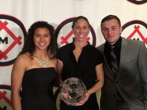 Raquel Rodriguez (left) won the women's 2015 MAC Hermann Trophy.