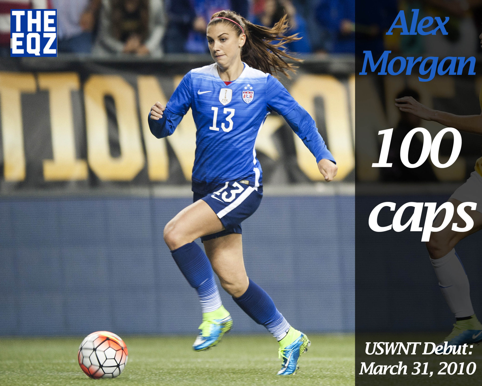 Alex Morgan becomes the 34th USWNT player to earn 100 senior caps. (Photo Copyright Patricia Giobetti for The Equalizer)