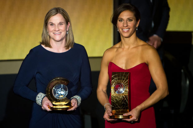 Carli Lloyd, right, and Jill Ellis won FIFA honors in 2015. They're in the final three for the 2016 awards.  (Photo by Philipp Schmidli/Getty Images)