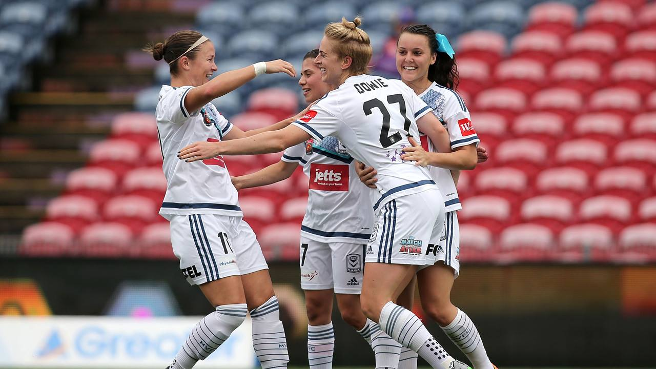 Melbourne Victory's Natasha Dowie celebrates her goal against the Newcastle Jets this past weekend.