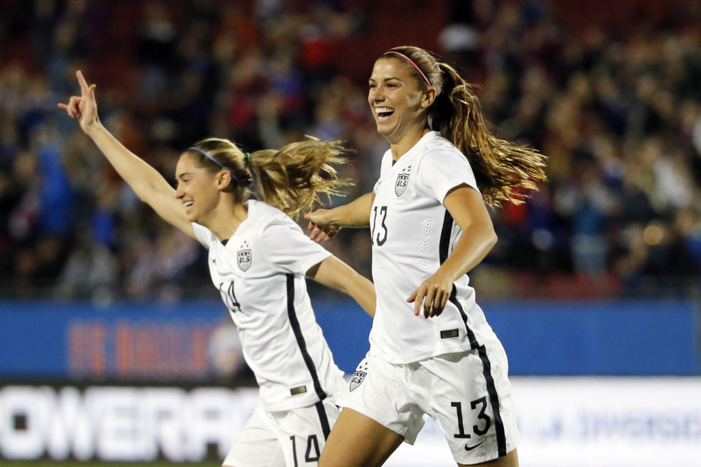 Alex Morgan scored a hat trick to help the USWNT beat Trinidad and Tobago, 5-0 and qualify for the 2016 Rio Olympics. (AP Photo)