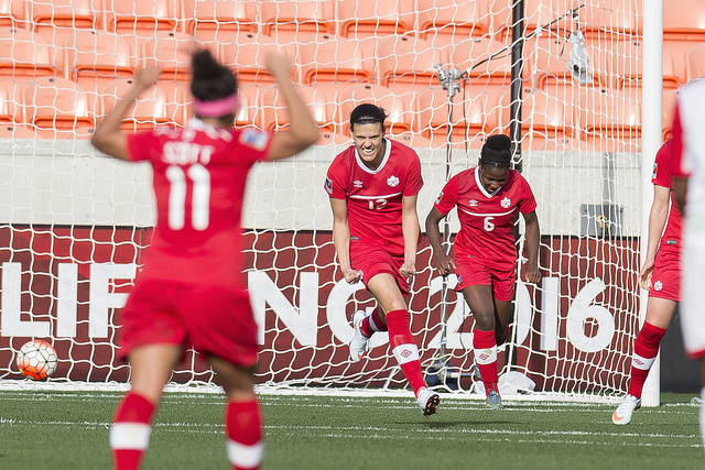 Christine Sinclair celebrates her 159th international goal at the 2016 CONCACAF Olympic Qualifying tournament. (Photo: Canada Soccer)