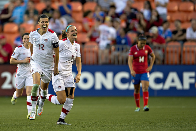 Canada celebrates qualifying for the 2016 Rio Olympics at Costa Rica's expense. (Photo: Canada Soccer)