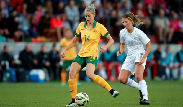 Alanna Kennedy (14) won 37 caps for Australia before her 21st birthday. (photo courtesy Western New York Flash.)
