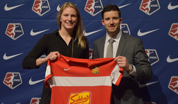 Britt Eckerstrom with Flash GM Rich Randall on draft day. (photo:  wnyflash.com)