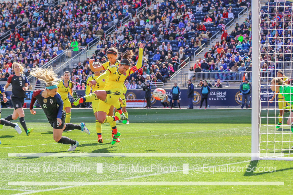 Julie Johnston scored twice for the USWNT against Colombia. (Photo Copyright Erica McCaulley for The Equalizer)