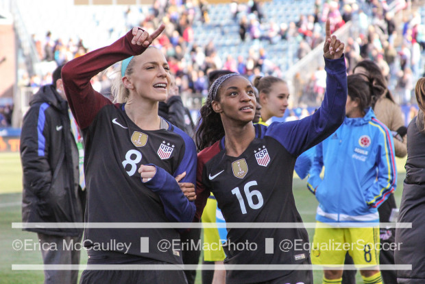 Julie Johnston, left, and Crystal Dunn after the U.S. throttled Colombia again. (photo copyright:  EriMacPhoto for The Equalizer)