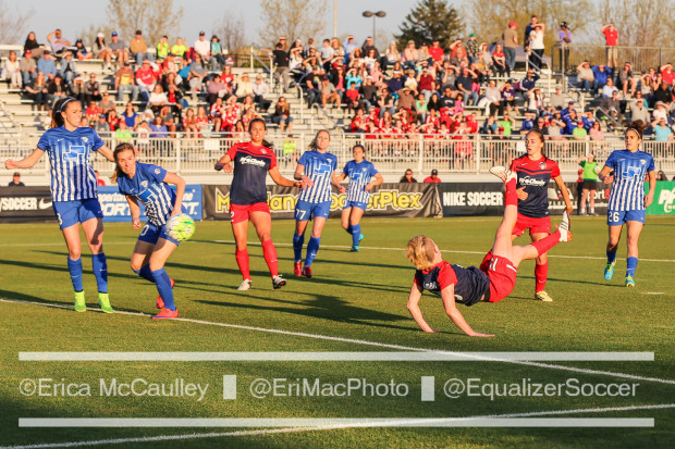 Breaker defenders watch as Joanna Lohman (on the ground) scored on a 3rd minute bicycle kick. (photo copyright EriMac Photo for The Equalizer)