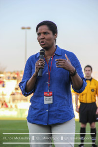 Brianna Scurry addresses the crowd at the SoccerPlex, 15 years to the week after she helped launch WUSA. (photo copyright EriMac Photo for The Equalizer)