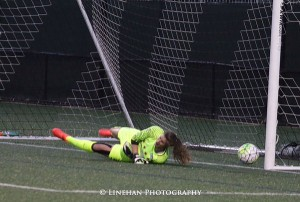 Kristie Mewis' penalty kick hit the post. (Photo copyright Clark Linehan for The Equalizer)