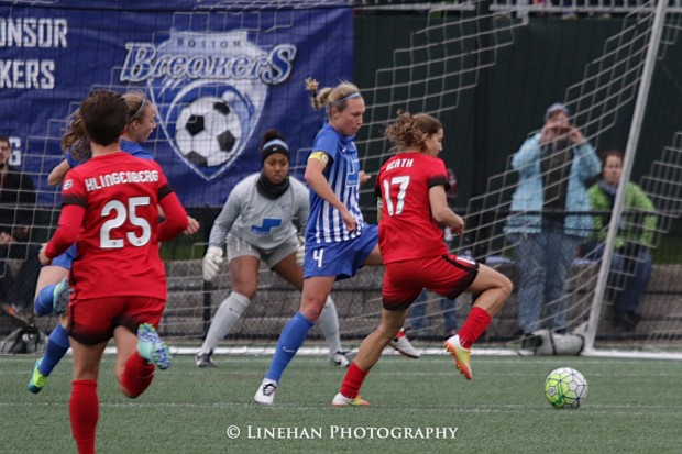 Abby Smith (gray jersey) positions herself during her professional debut, a 1-0 Breakers loss to the Thorns, (photo copyright Linehan Photography for The Equalizer)