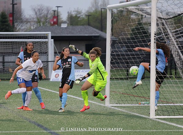 Chicago Red Stars goal-line clearance. (Photo copyright Clark Linehan for The Equalizer)