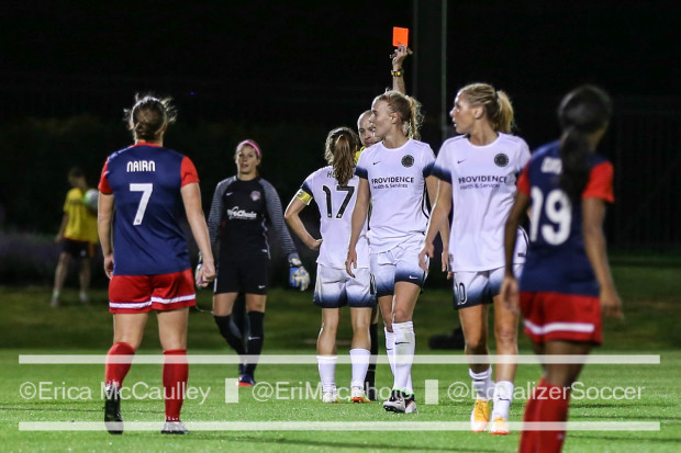 Portland's Tobin Heath (# 17) gets shown a red card late in Saturday's 0-0 draw against the Spirit. (photo copyright EriMacPhoto for The Equalizer)