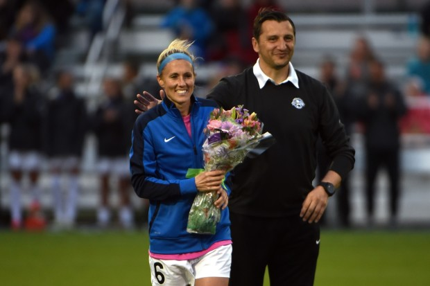 Jen Buczkowski with FC Kansas City coach Vlatko Andonovski before her final professional match. (photo courtesty FC Kansas City)