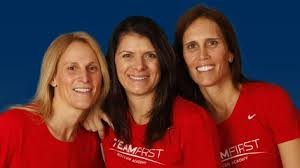 Teammates since college, (l. to r.) Kristine Lilly, Mia Hamm, and Tisha Venturini Hoch are passing down their knowledge through Team First.