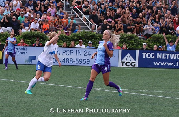 Natasha Dowie celebrates her first NWSL goal. (photo copyright Linehan Photography for The Equalizer)