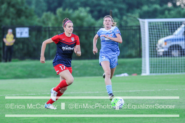 Arin Gilliland (right) and Cali Farquharson give chase during the Spirit's 2-0 win over the Red Stars (photo copyright EriMac Photo for The Equalizer)