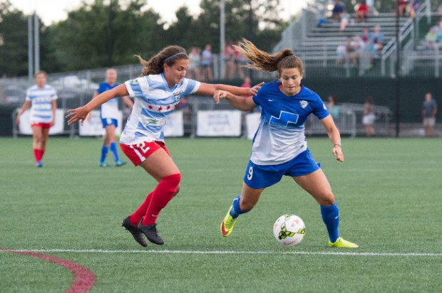 Danielle Colaprico, left battling with now teammate Stephanie McCaffrey, is considered one of the best D-mids in NWSL. Will Opta stats support that claim? (photo courtesy: Boston Breakers)