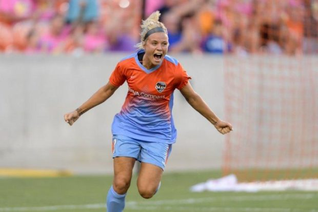 Rachel Daly's goal celebration with Kealia Ohai was quite the hit. (photo courtesy Houston Dash)