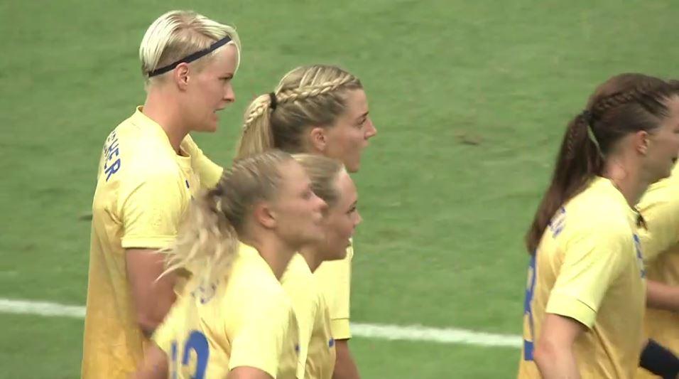 Sweden celebrates a game-winning goal vs. South Africa.