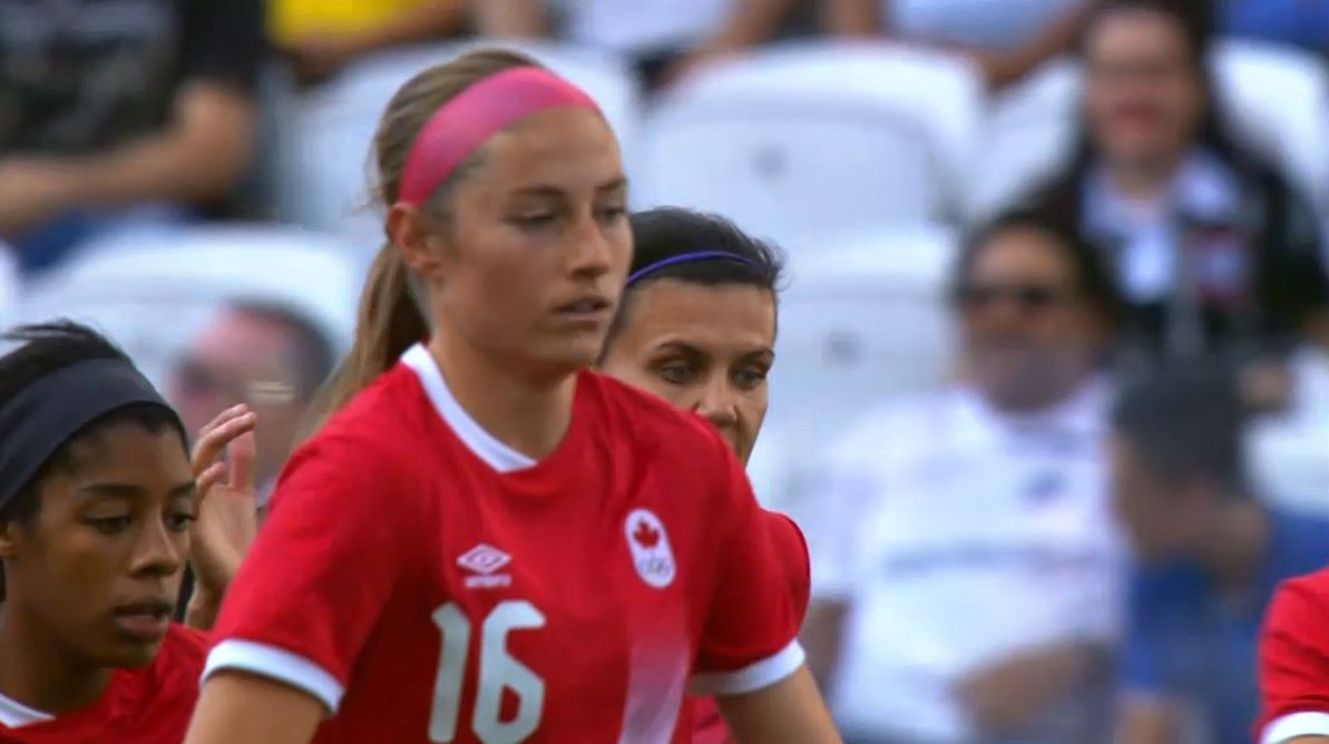 Janine Beckie scored a hat trick against Costa Rica before the 1st half was up.