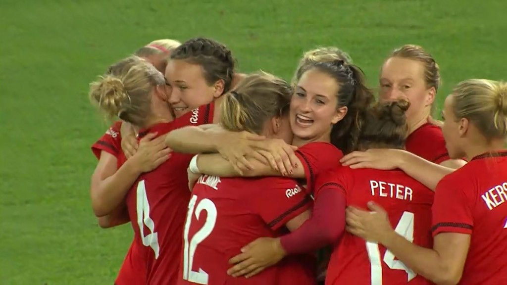 Germany beat Sweden to claim the Olympic gold medal in women's soccer for the first time.