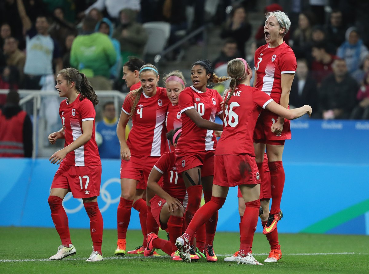 Canada celebrates after scoring the decisive goal against France in the Rio 2016 quarterfinals. (Photo: Canada Soccer)