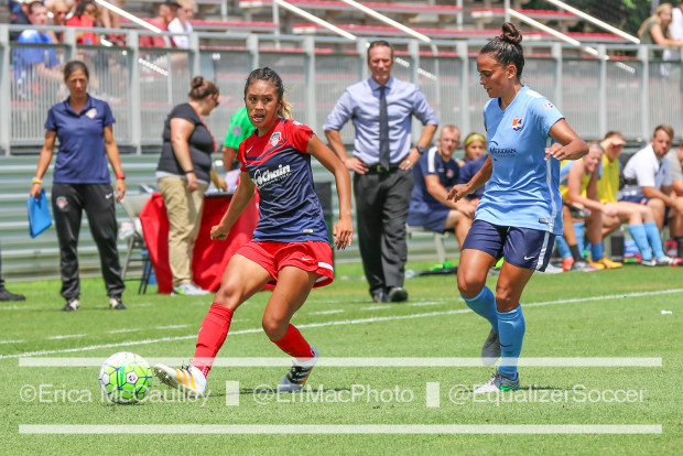 Caprice Dydsco's switch to right back was a help for the Spirit who beat Sky Blue in a Sunday morning match that was postponed from the night before. (photo copyright EriMac Photo for The Equalizer)
