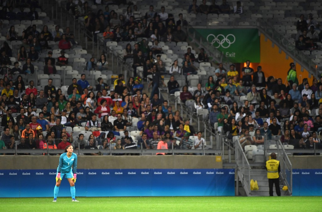 """Fans chanted """"Zika"""" at Hope Solo in the Rio Olympics opener, but more seriously, there were reportedly homophobic slurs being chanted at other players. (John David Mercer-USA TODAY Sports)"""