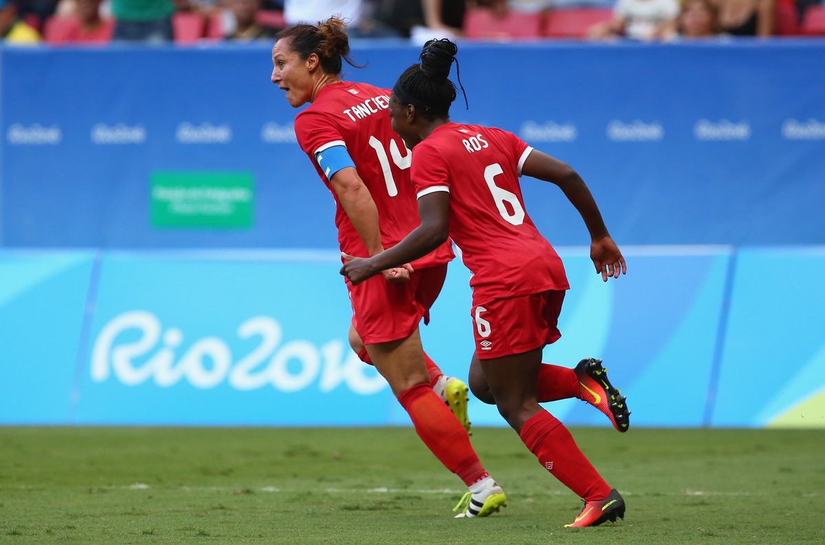Melissa Tancredi's brace lead Canada to a 2-1 win over Germany Tuesday afternoon at Rio 2016. (Photo: Canada Soccer)