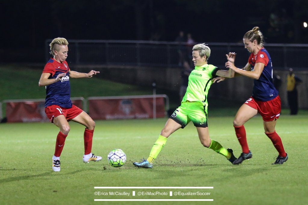 """Megan Rapinoe says the Spirit playing the national anthem early was """"f***ing unbelievable."""" (Photo Copyright Erica McCaulley for The Equalizer)"""