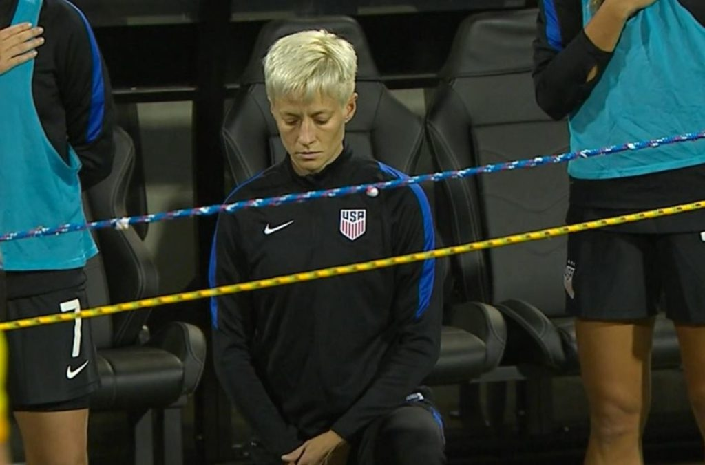 Megan Rapinoe knelt during the U.S. national anthem ahead of the United States' match vs. Thailand.