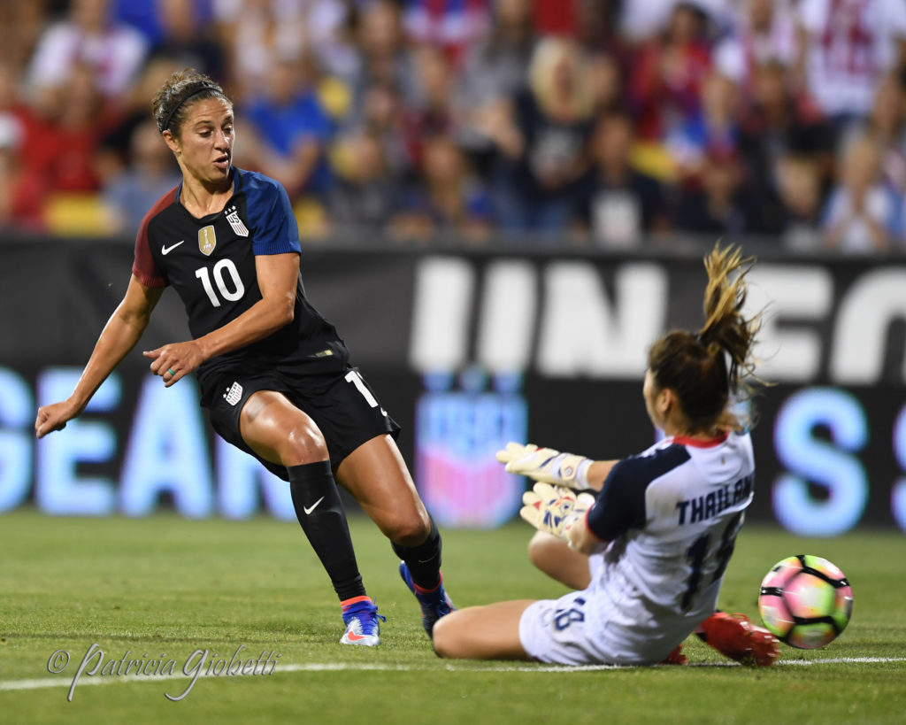 Carli Lloyd scored twice on Sunday in the USWNT's 5-1 win over Switzerland. (Photo Copyright Patricia Giobetti for The Equalizer)