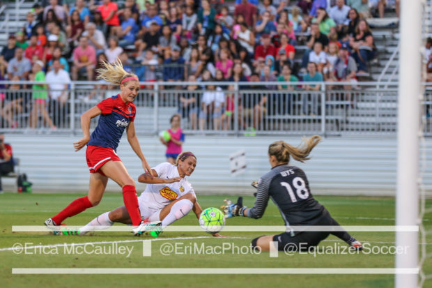 Kelsey Wys (18) tore her ACL over the weekend, ending her Australian season and likely impacting her 2017 NWSL campaign. (photo copyright EriMac Photo for The Equalizer)