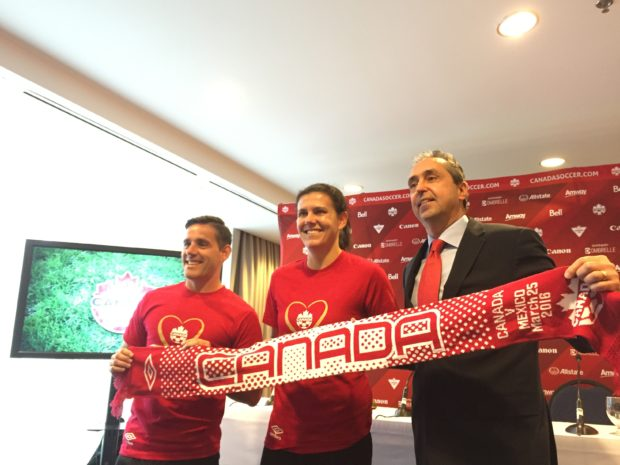 Christine Sinclair, flanked by John Herdman (l) and Peter Montopoli, says she would like a major world trophy for Canada before she retired. (photo copyright Harjeet Johal for The Equalizer)