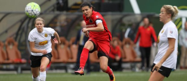 Christine Sinclair scored the first of three Thorns' goals on the night. They were not enough though, in a 4-3 loss to the Flash (photo: Portland Thorns FC)