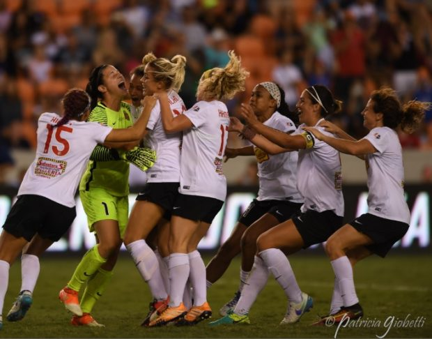 Western New York Flash congratulate Sabrina D'Angelo after winning the NWSL Championship in penalty kicks. (photo by Patricia Giobetti for The Equalizer)