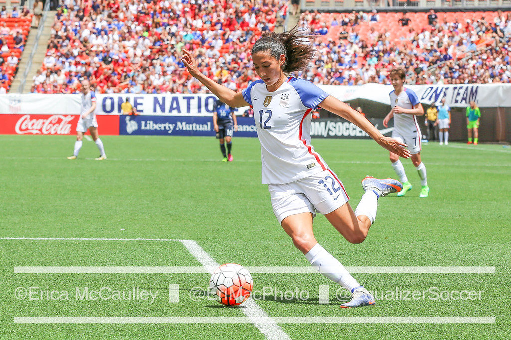 Christen Press scored a hat trick on Thursday against Romania. (Photo Copyright Erica McCaulley for The Equalizer)
