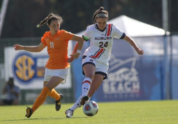 Casier Ramsier controls the ball in Auburn's 3-1 win over Tennessee in the SEC Tournament quarterfinals. C. Ramsier had a hat trick in the match. (photo courtesy of Auburn University)