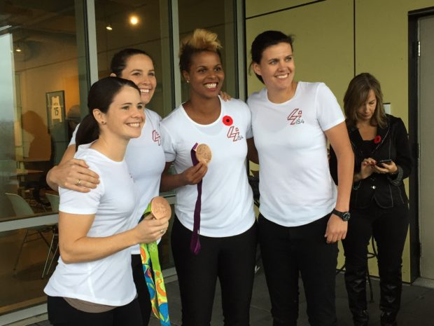 The iS4 team. From left -- Diana Matheson, Rhian Wilkinson, Karina LeBlanc, and Christine Sinclair. (photo copyright Harjeet Johal for The Equalizer)